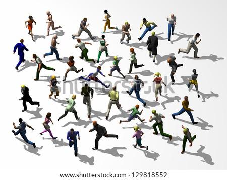 Crosstown traffic, Crowd of people runs crisscross