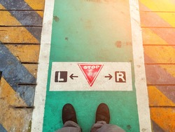 Crosswalk for employees crossing the road between buildings in the factory, Safety and awareness concept. Soft focus