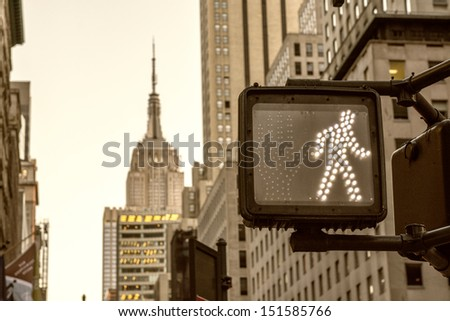 Crosswalk ok sign on a Manhattan Traffic Light New York City