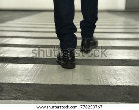 Crosswalk zebra crossing black boot jeans #778253767