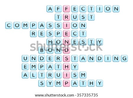 Crossword for the word Friendship and words associated with Friendship (Affection, Trust, Compassion, Honesty, Respect, Bond, Understanding, Empathy, Altruism, Sympathy), illustration #357335735