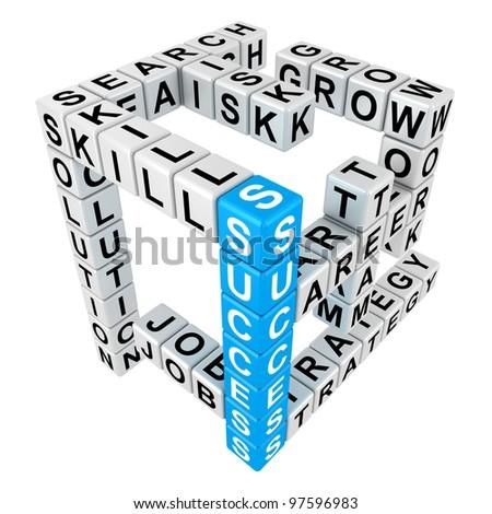 Crossword puzzle illustration in the threedimensional form