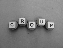 Croup, word cube with background.