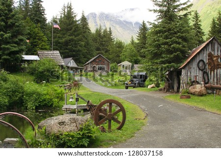 Crow Creek mining camp. Girdwood, Alaska, on Alaska's Kenai Peninsula. The location is about 50 miles from Anchorage and in the same town with the Aleyska ski resort.
