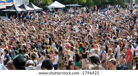 Crowd at an outdoor concert.