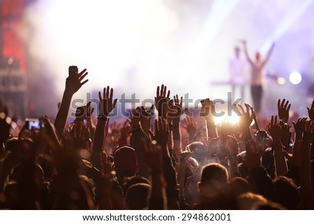 Crowd at concert and blurred stage lights #294862001