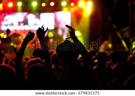 crowd at concert - summer music festival #679831375