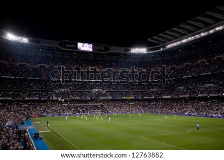Crowd celebrates Real Madrid championship during final match of 2007-8 league season in Madrid, May 18, 2008. - stock photo