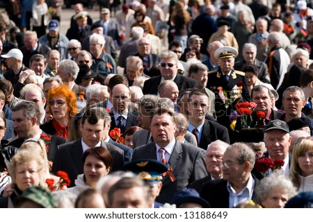 Crowd Celebrating of May 9 Victory Day (Eastern Europe) in Riga at Victory Memorial to Soviet Army