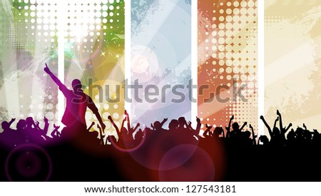 Crowd cheering at the music concert
