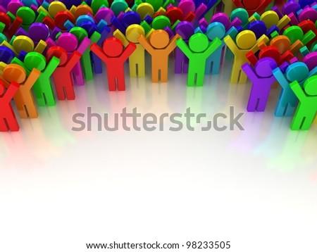 Crowd. Concept of unique. Concept of win.