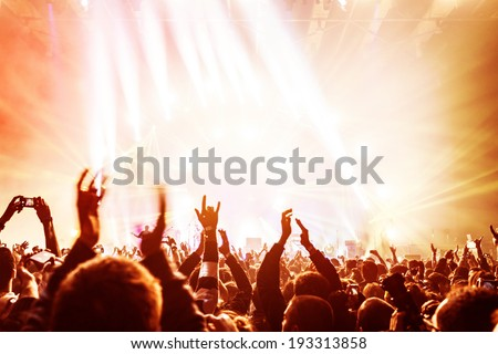 crowd enjoying concert  happy...