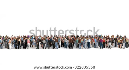 Crowd. Large crowd of people stay on a line on the white background. Stock photo ©
