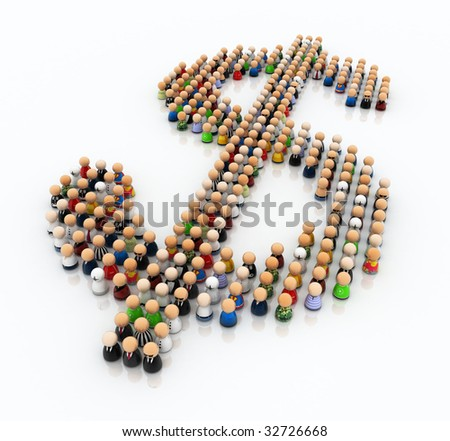 Crowd made of small symbolic 3d figures, forming a dollar sign