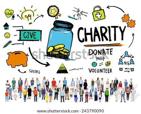 Crowd Multiethnic People Give Help Donate Charity Concept