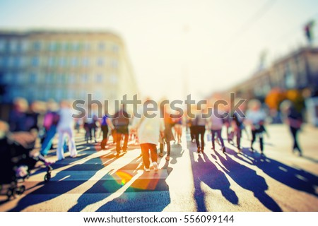 Crowd of anonymous people walking ストックフォト ©