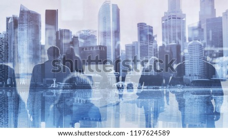 crowd of business people walking in big city, modern life, double exposure blue toned urban background
