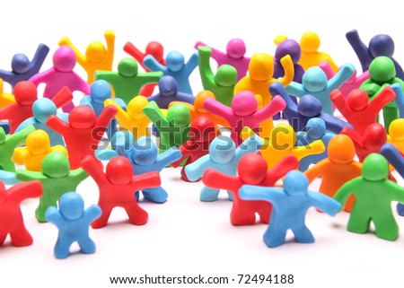 crowd of many different colorful plasticine people