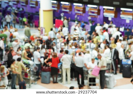 Crowd of people at airport