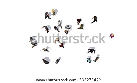 crowd of people in top-view isolated on white background #333273422