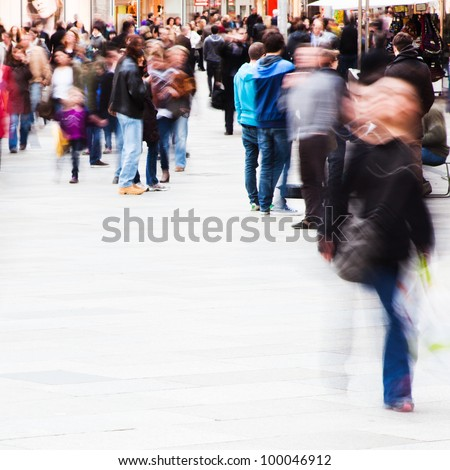 crowd of people on the shopping street