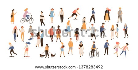 Crowd of people performing summer outdoor activities - walking dogs, riding bicycle, skateboarding. Group of male and female flat cartoon characters isolated on white background. illustration.