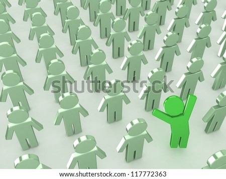 Crowd of puppets. Leader concept.