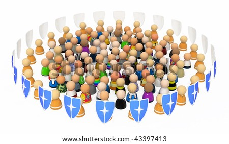 Crowd of small 3d figures symbolizing protection or security, isolated
