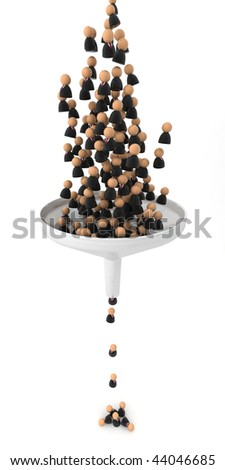Crowd of small symbolic 3d figures falling through a funnel, isolated