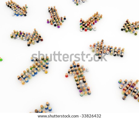 Crowd of small symbolic 3d figures formed in arrows, isolated