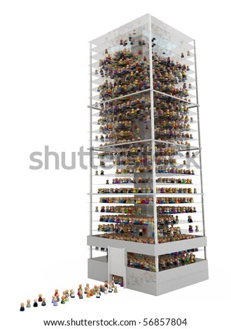 Crowd of small symbolic 3d figures in a building, over white, isolated