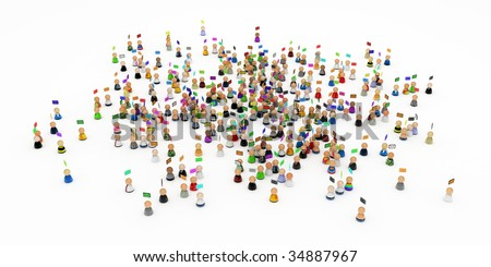 Crowd of small symbolic 3d figures, isolated
