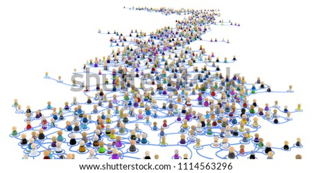 Crowd of small symbolic 3d figures linked by lines, complex layered system far distance, over white, horizontal Stock photo ©