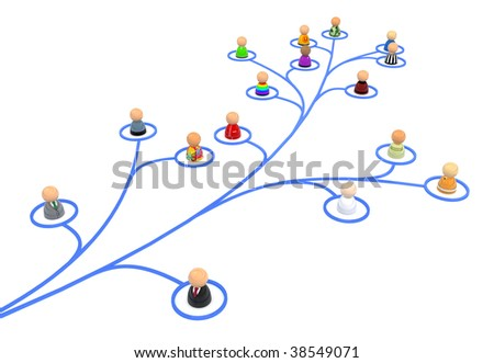 Crowd of small symbolic 3d figures linked by lines, isolated
