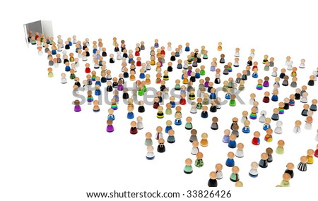 Crowd of small symbolic 3d figures moving through doors, isolated
