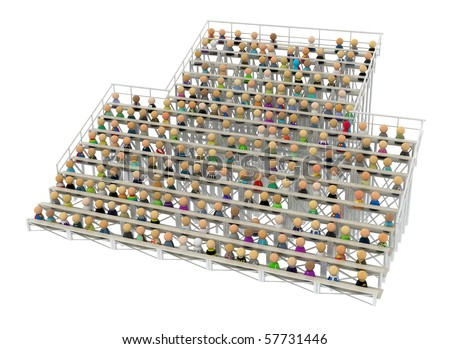 Crowd of small symbolic 3d figures on bleachers, over white, isolated