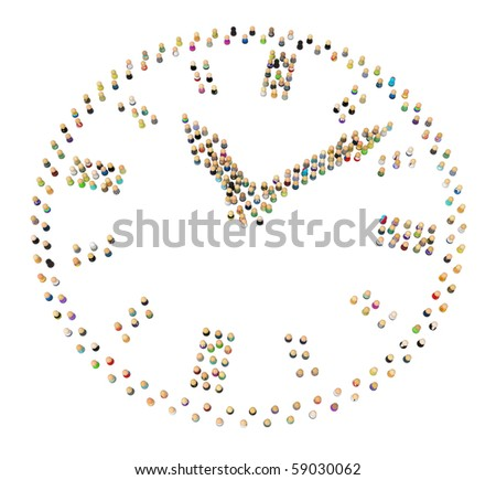 Crowd of small symbolic 3d figures, over white, isolated