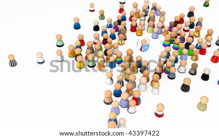 Crowd of small symbolic 3d figures with shield, isolated - stock photo