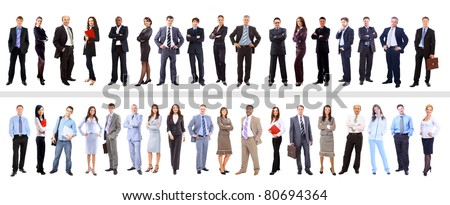 Crowd or group of business people isolated in white