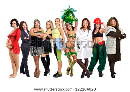 Crowd or group of different women isolated in white