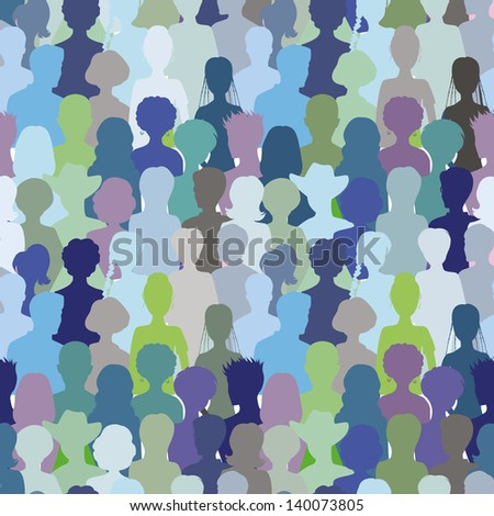 Crowd. Seamless pattern, blue color