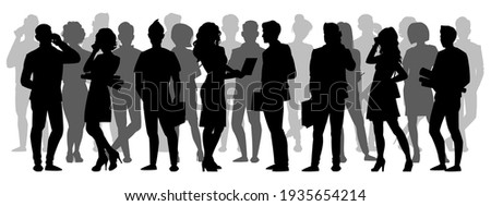 Crowd silhouette. People group shadow silhouettes, adult male and female anonymous characters. Business people silhouettes  illustration set