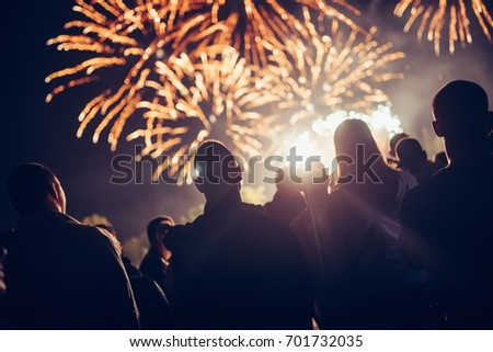 Crowd watching fireworks #701732035