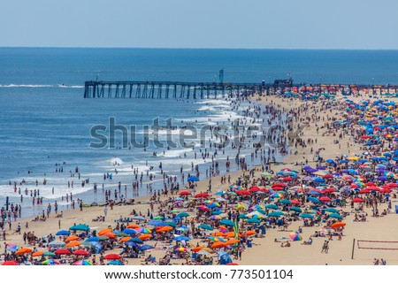 Crowded beach in Ocean City, MD  #773501104