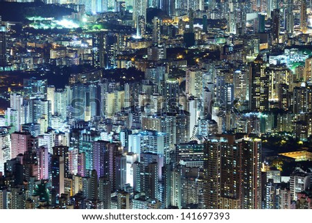 Crowded downtown building in Hong Kong