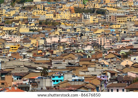 Crowded neighborhood in the south of Quito, Ecuador. Small and dirty houses on the hills.