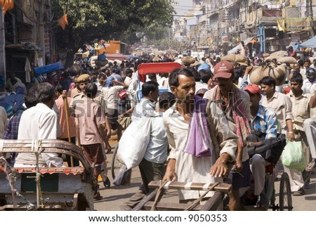 Crowded street scene from Old Delhi, India