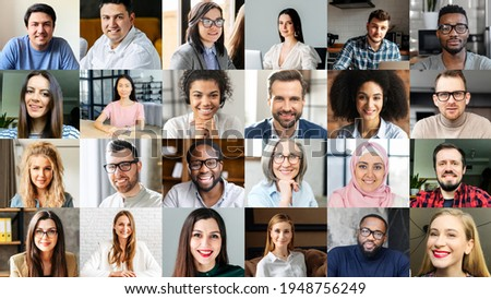 Crowded video screen with diverse multinational people on it. Video meeting online for office employees working remotely. Multiracial colleagues involved in online conference, video call. Hr data base Foto d'archivio ©