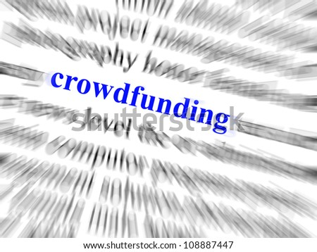 Crowdfunding in blue sharp text surrounded by blurred text in black and zoom effect.