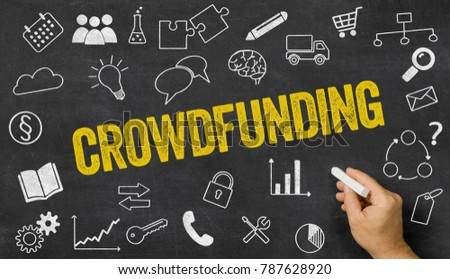 Crowdfunding written on a blackboard with icons  #787628920